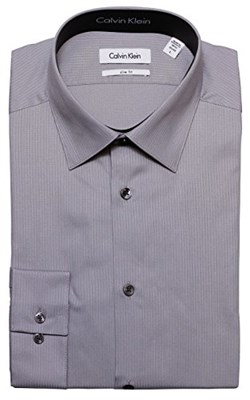מכופתרת קלווין קליין אפור CALVIN KLEIN Dress Shirt Charcoal Grey Slim Fit