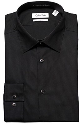 מכופתרת קלווין קליין שחור CALVIN KLEIN Dress Shirt Black Slim Fit
